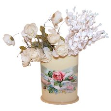 Art Deco Celluloid Toothbrush Holder - Victorian Die Cut Front | Dove & Pink Rose - Sweet Remembrance