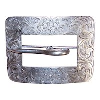 Antique Victorian Buckle Pin | Engraved Floral Buckle Pin | Sterling Silver Pin | Sash Pin