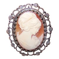 Wells Sterling Silver Shell Cameo Pin/Pendant Combo -  Lady in Profile