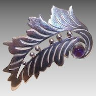 Vintage STERLING SILVER & Amethyst Leaf Pin from Taxco, Mexico!
