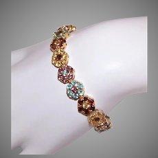 "Sterling Silver Vermeil Tennis Bracelet | Yellow Gold Wash | Multi Colored Crystals | 7-1/2"" Fashion Bracelet"