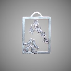 Mexican Sterling Silver Pendant | Lovebirds Beneath Cherry Blossoms | Sterling Silver Charm