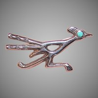 Native American Sterling Silver Turquoise Road Runner Pin