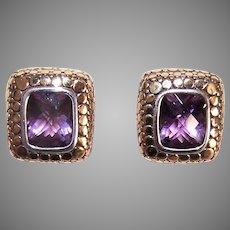 Retired John Hardy Sterling Silver Amethyst Gold Dot Earrings | Clip Ons
