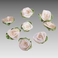 8 AMERICAN Hand Made CREAM Silk Ribbon Floral Applique/Embellishment/Ribbonwork Roses!