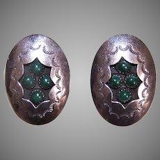 Native American Sterling Silver Malachite Shadowbox Earrings