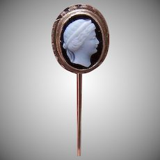 Well Made ANTIQUE EDWARDIAN 14K Gold & Hardstone Cameo Stick Pin!