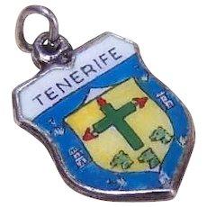 Vintage 800 Silver & Enamel Travel Shield Charm - Tenerife!