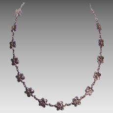 Vintage STERLING SILVER Necklace - Lovely Floral Links