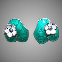 Vintage STERLING SILVER Earrings - Green Enamel, Lily Pad, David Andersen, Norway
