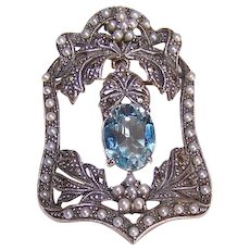 Vintage STERLING SILVER Pin - Blue Topaz, Cultured Pearl, Marcasite, Pendant