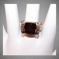 Lorenzo Sterling Silver 18K Gold Honey Citrine Fashion Ring