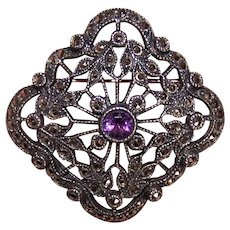 Art Deco Revival Sterling Silver Amethyst Marcasite Pin