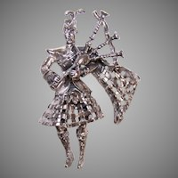 Beau Sterling Silver Pin | Scotsman in Kilt Playing Bagpipes