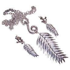 Vintage STERLING SILVER Jewelry Set - Barse, Necklace, Earrings, Feather