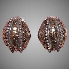 Vintage John Hardy Sterling Silver 18K Gold Dot Earrings - Pierced with Omega Backs