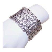 Sterling Silver Link Bracelet Wide Filigree Links Victorian Revival Statement Bracelet