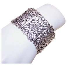 Vintage STERLING SILVER Bracelet - Wide Link, Filigree, Statement Piece