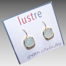 Vintage STERLING SILVER Earrings - Yellow Gold Wash, Vermeil, Chalcedony