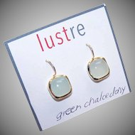 Vintage STERLING SILVER Vermeil & Chalcedony Earrings!