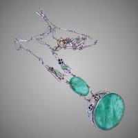 Art Deco Silver Enamel Peking Glass Costume Necklace