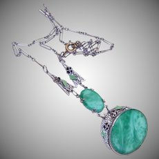 ART DECO Costume Necklace - Rhodium, Enamel, Peking Glass