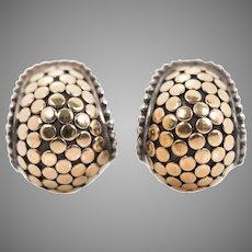 Retired John Hardy Sterling Silver 18K Gold Dot Earrings | Pierced with Omega Backs