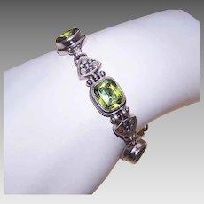 Vintage STERLING SILVER Bracelet - Peridot, Retro Modern, Modernist, Link