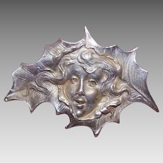 ART NOUVEAU Sterling Silver Pin - Holly Leaf Lady - Perfect for Christmas