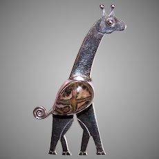 Vintage Sajen Sterling Silver Agate Pin - Standing Giraffe