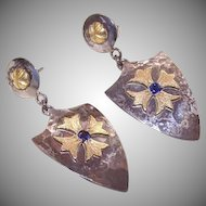 Medieval Inspired 18K Gold, .40CT TW Sapphire & Sterling Silver Drop Earrings by James Cleland!