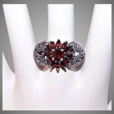 Art Deco Revival Sterling Silver Garnet Crystal Marcasite Ring