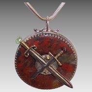 Vintage STERLING SILVER, 14K Gold & Multi-Gemstone Scottish Agate Pendant by James Cleland!