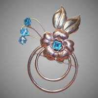50s HARRY ISKIN Retro Modern GOLD FILLED & Blue Rhinestone Pin/Brooch!