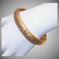 ANTIQUE EDWARDIAN Gold Filled Repousse Bangle Bracelet - Double Hinge!