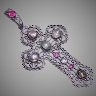 Antique FRENCH Religious Silverplate & Glass Paste Filigree Cross Pendant
