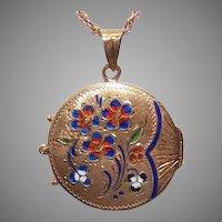 Victorian Revival 14K Gold Enamel Locket