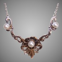 Vintage Symmetalic Sterling Silver 14K Gold Necklace