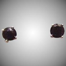 Vintage STERLING SILVER Earrings - Gold Vermeil, Cubic Zirconia, CZ, Sapphire Blue, Pierced, Studs