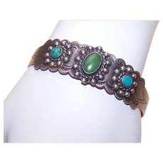 Old Pawn NATIVE AMERICAN Bracelet - Coin Silver, Turquoise, Cuff