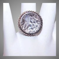 Vintage MEXICAN Sterling Silver Concave Circular Ring - Nicely Etched Top