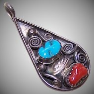 Vintage MARIE BAHE, Navajo Sterling Silver, Turquoise & Coral Pendant
