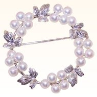 Vintage STERLING SILVER & Cultured Pearl Pin/Brooch - Wreath of Blooms!