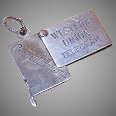Beau Sterling Silver Mechanical Charm | Western Union telegram | Congratulations