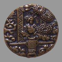 Lovely VICTORIAN Metal Button - Geisha Among Chrysanthemums!