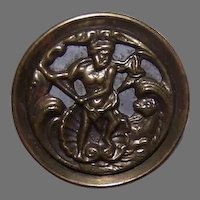 Historical VICTORIAN Metal Button - Hercules On the Hunt!
