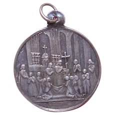 ANTIQUE VICTORIAN Pendant - Religious, French, Silver, First Communion, Charm, Medal, Unused