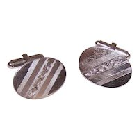 Sterling Silver Oval Cufflinks with Engraved Design - Graduation or Wedding Gift