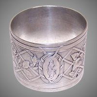 Antique French Silver Napkin RIng | Monogram CS or SC| Morning Glories & Roses