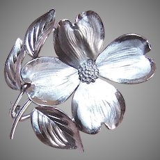 Vintage Sterling Silver Dogwood Pin by Bickson, Inc.